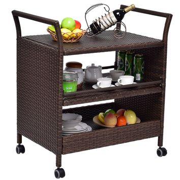 Rattan Rolling Serving Cart Storage Shelves Rack Indoor/ Outdoor Furniture