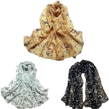 KLV 2016 New Brand Fashion 1PC Women Lady Musical Note Chiffon Neck Scarf Shawl Muffler Scarves From India   A12