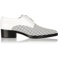 Stella McCartney Laser-cut and smooth faux leather lace-up flats – 60% at THE OUTNET.COM