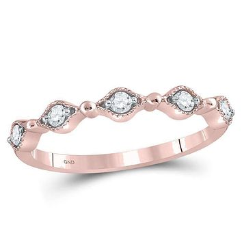 10k Rose Gold Women's Round Diamond Contour Stackable Ring - FREE Shipping (US/CA)