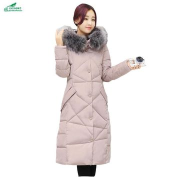 Winter new women down feathers Outerwear Medium length large Size casual cotton clothes aged fall cotton jacket coat OKXGNZ AF56