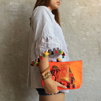 Oeange Clutch purse / vegan clutch bag / Vinyl handbag / embossed Elephant print / fits phone & essentials / lucky orange clutch
