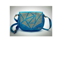 Metallic turqoise geometric crossbody