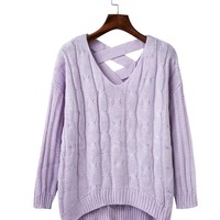 Wind fashion fall back cross V collar sets of leisure sweater