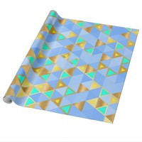 Blue, Turquoise, and Gold Triangles Patterned Wrapping Paper
