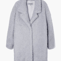 Notched Collar Faux Fur Coat