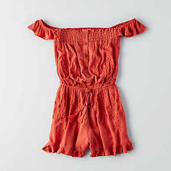 AEO Off-The-Shoulder Eyelet Romper, Red