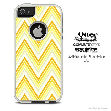 The Yellow Sharp Chevron Pattern Skin For The iPhone 4-4s or 5-5s Otterbox Commuter Case