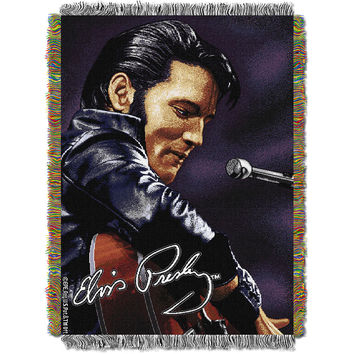 Elvis 68 Leather Sitting 051  Woven Tapestry Throw Blanket (48x60)