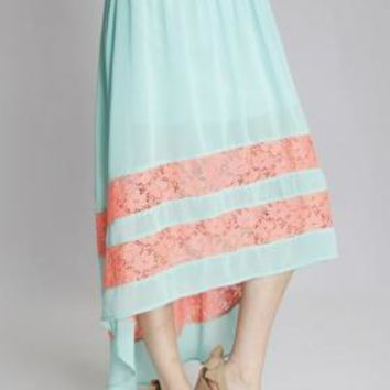 Charmed Life Lace Inset High Low Midi Skirt in Mint/Coral | Sincerely Sweet Boutique