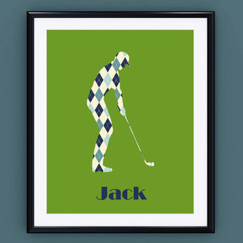 Golf Gift ~ Personalised Golf Print ~ Golf Gifts for Men Personalised Name Print, Kids Room Decor Boys Prints, Sports Prints Teen Room Decor