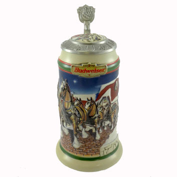 Anheuser-Busch Grant's Farm Holiday Stein Lidded Beer Stein / Mug