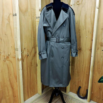 RALPH LAUREN Mens Trench Coat 44 R / olive green Raincoat Heavy Overcoat / belted / quilted wool zip out lining / GravelStreetVintage