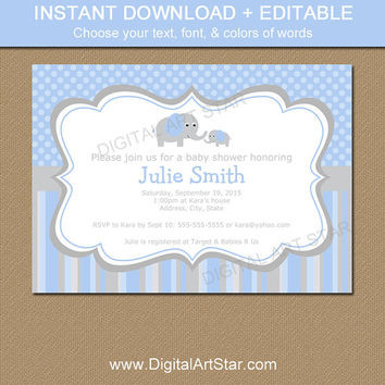 Elephant Baby Shower Invitation - Blue and Grey Baby Shower Invitation - Printable EDITABLE Template - Boy Baby Shower Invite - INSTANT