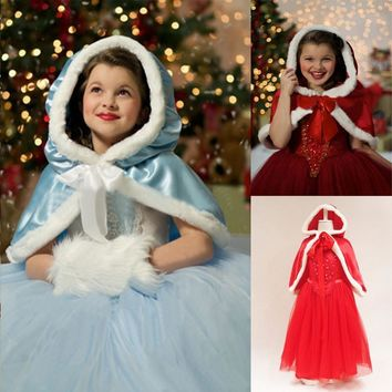 2017 Winter Baby Girls BAll Gown Cosplay Dress+Hooded Cloak Flower Pearls Lantern Sleeve Dress For Girls Costume 4-10 Years Old