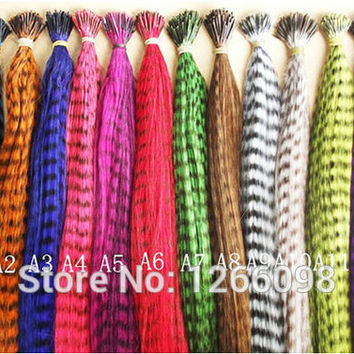 120pcs 12 colors available long straight Feather Hair Extensions high temperature Wire synthesis with free beads & hook