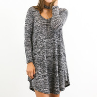 Ramble On Heather Black Tunic Long Sleeve  Dress
