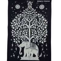Twin Size Black Elephant & Tree Tapestry Wall Hanging - RoyalFurnish.com