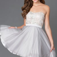 Short Strapless Homecoming Dress 7535-1