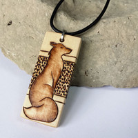Wood Fox Pendant Necklace, Custom Black Leather Necklace Cord, Stainless Steel Findings