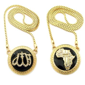 "SET OF 2 Gold Allah Islam Muslim Africa Charm Pendant 30"" Box Chain Necklace"