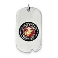 US Marine Corp Dog Tag Charm in Sterling Silver