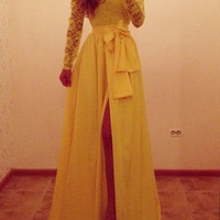 Yellow Long Sleeve Lace Maxi Dress with Bow