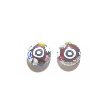 Colorful Murano Millefiori Bulls Eye Post Earrings, Stud Earrings