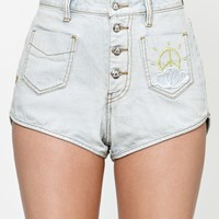 Waterfall Exposed Button High Rise Denim Shorts