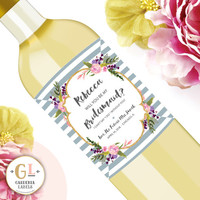Be My Bridesmaid Wine Labels, Custom Ask Bridal Party Gift, Maid of Honor Champagne Label, Bridesmaid Proposal, Perfect for Bridesmaid Box