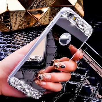 KISSCASE Glitter Diamond Girly Case For iPhone 7 6 6s Plus Plating Mirror Cases For iPhone 5 5s SE X 10 Ultra Slim Soft TPU Capa