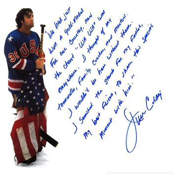 Jim Craig Signed 1980 USA Hockey Team 16x20 Story Photo