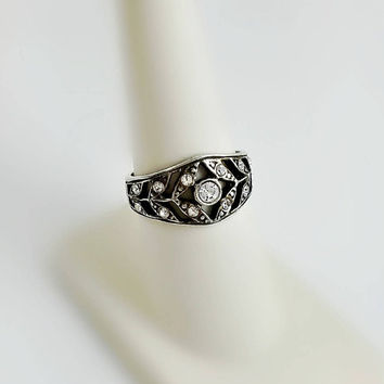Sterling Lattice Ring Size 7.5 - White Stone Ring - Multistone Sterling Ring - Openwork Band - Vintage Sterling Ring
