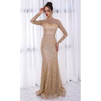 Star Dust Silver Sheer Mesh Glitter Swirl Long Sleeve Crew Neck Ruffle Fit and Flare Maxi Dress