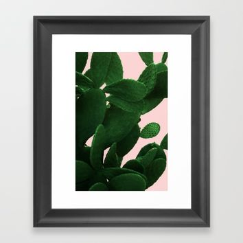 Cactus On Pink Framed Art Print by ARTbyJWP