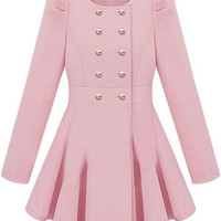 ROMWE | Double-breasted Skirt Hem Design Pink Trench-coat |