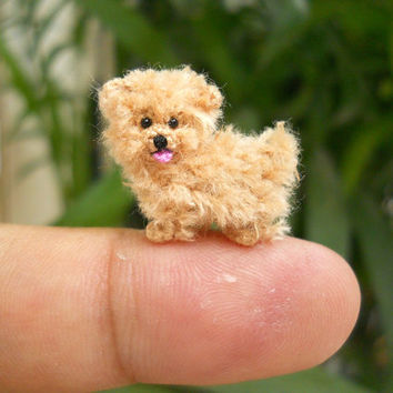 Mini Fawn Maltese Amigurumi - Tiny Crochet Miniature Dog Stuffed Animals - Made To Order