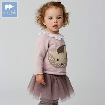 DB5994 dave bella autumn newborn baby girls wool pullover tops infant clothes toddler children knitted Sweater