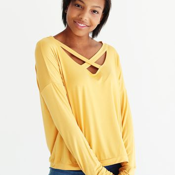 Mimosa DLMN Long Sleeve Criss Cross Top