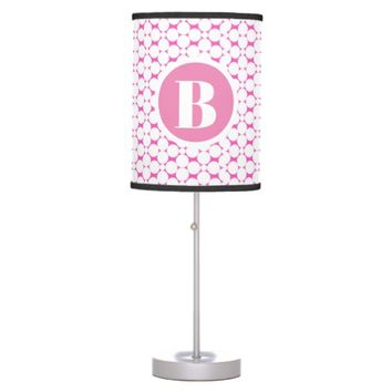 Monogram Pink Circles Baby Nursery Table Lamp