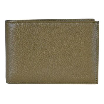 Gucci Men's Olive Green Leather Bi-fold Wallet with Embossed Logo 292534