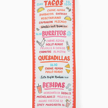 taco menu oblong scarf | Kate Spade New York