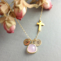 Christmas gift, Personalized Sideways Cross Necklace, Initial, October birthstone Pink Opal Color Pendant, Initial, Gift For Her, Unique