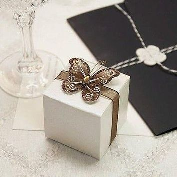 12 Rose Print Ivory White Favor Boxes with Brown Gem Butterfly Ribbon