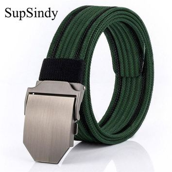 SupSindy men's belt metal buckle military Nylon canvas belt men luxury punk Army tactical belts for Men Best quality male strap
