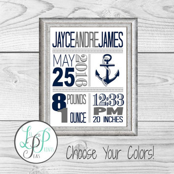 Nautical Nursery Wall Art, Nautical Birth Stats, Birth Details Print, Nautical Baby Gift, Custom Anchor Baby Gift,Nautical Theme Nursery Art