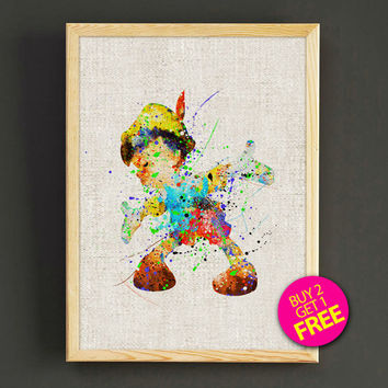 Pinocchio Watercolor Art Print Disney Fairy Tale Poster House Wear Wall Decor Gift Linen Print - Disney - Buy 2 Get 1 FREE - 74s2g