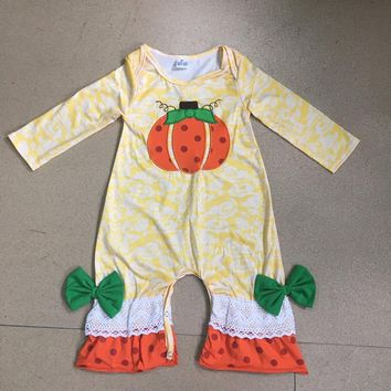 Halloween Days Infant Clothing Baby Girl Outfit Pumpkin Pattern Fall Jumpsuits Newborn Cotton Girl Clothing