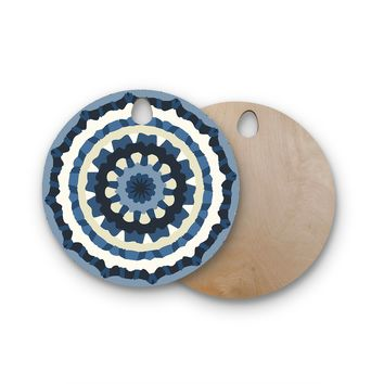 "Laura Nicholson ""Ribbon Mandala"" Navy Tan Round Wooden Cutting Board"