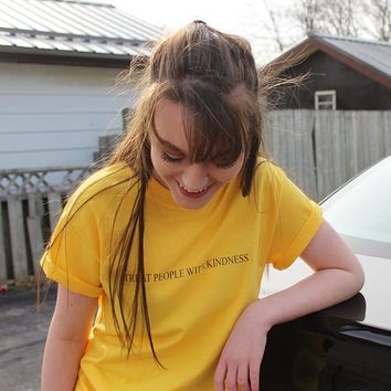 Treat People with Kindness T-Shirt Yellow Graphic Tee Aesthetic Casual Harry Styles Cotton Tops Girl Like Tumblr Crewneck TShirt